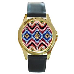 Colorful Diamond Crochet Round Gold Metal Watches