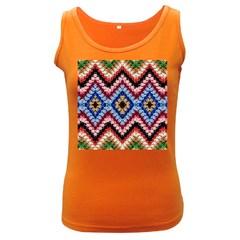 Colorful Diamond Crochet Women s Dark Tank Tops
