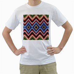 Colorful Diamond Crochet Men s T Shirt (white)  by Costasonlineshop