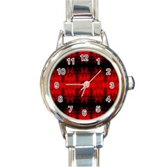 Red Black Gothic Pattern Round Italian Charm Watches by Costasonlineshop