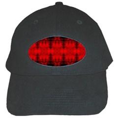 Red Black Gothic Pattern Black Cap by Costasonlineshop