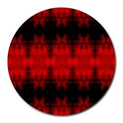 Red Black Gothic Pattern Round Mousepads by Costasonlineshop
