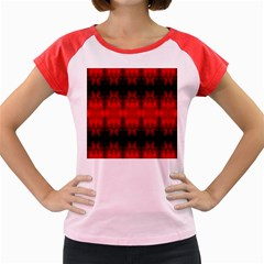 Red Black Gothic Pattern Women s Cap Sleeve T Shirt by Costasonlineshop