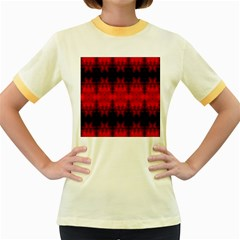 Red Black Gothic Pattern Women s Fitted Ringer T Shirts by Costasonlineshop