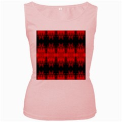Red Black Gothic Pattern Women s Pink Tank Tops by Costasonlineshop