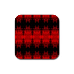Red Black Gothic Pattern Rubber Coaster (square)  by Costasonlineshop
