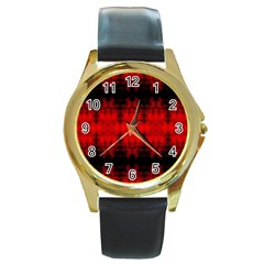 Red Black Gothic Pattern Round Gold Metal Watches by Costasonlineshop
