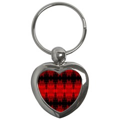 Red Black Gothic Pattern Key Chains (heart)  by Costasonlineshop