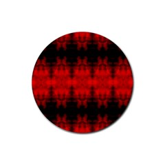 Red Black Gothic Pattern Rubber Coaster (round)  by Costasonlineshop