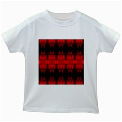 Red Black Gothic Pattern Kids White T Shirts by Costasonlineshop