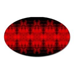 Red Black Gothic Pattern Oval Magnet by Costasonlineshop
