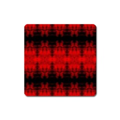 Red Black Gothic Pattern Square Magnet by Costasonlineshop