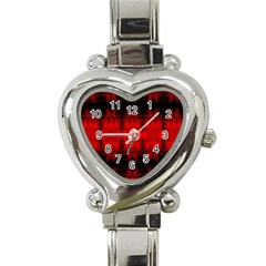 Red Black Gothic Pattern Heart Italian Charm Watch by Costasonlineshop