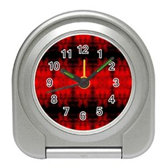 Red Black Gothic Pattern Travel Alarm Clocks by Costasonlineshop