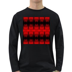 Red Black Gothic Pattern Long Sleeve Dark T-Shirts by Costasonlineshop