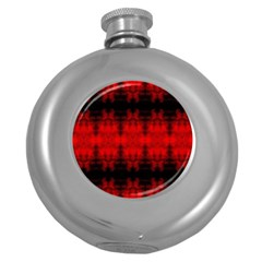 Red Black Gothic Pattern Round Hip Flask (5 Oz) by Costasonlineshop