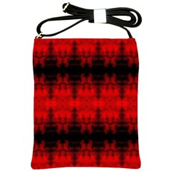 Red Black Gothic Pattern Shoulder Sling Bags by Costasonlineshop