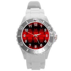 Red Black Gothic Pattern Round Plastic Sport Watch (l) by Costasonlineshop