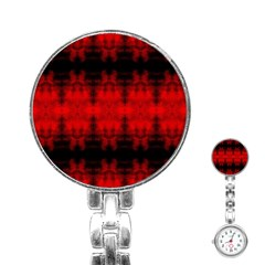 Red Black Gothic Pattern Stainless Steel Nurses Watches by Costasonlineshop