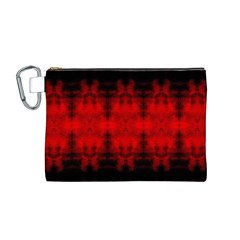 Red Black Gothic Pattern Canvas Cosmetic Bag (m) by Costasonlineshop
