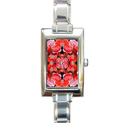 Beautiful Red Roses Rectangle Italian Charm Watches