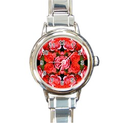 Beautiful Red Roses Round Italian Charm Watches