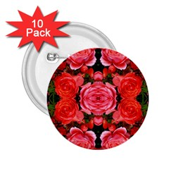 Beautiful Red Roses 2 25  Buttons (10 Pack)