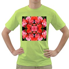 Beautiful Red Roses Green T Shirt by Costasonlineshop