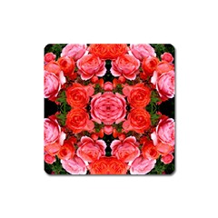 Beautiful Red Roses Square Magnet by Costasonlineshop