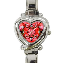 Beautiful Red Roses Heart Italian Charm Watch