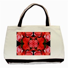 Beautiful Red Roses Basic Tote Bag (two Sides)  by Costasonlineshop