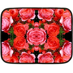 Beautiful Red Roses Double Sided Fleece Blanket (mini)  by Costasonlineshop