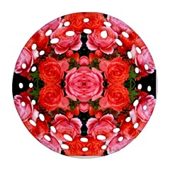 Beautiful Red Roses Ornament (round Filigree)  by Costasonlineshop