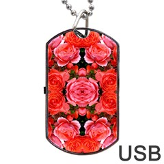 Beautiful Red Roses Dog Tag USB Flash (Two Sides)  by Costasonlineshop