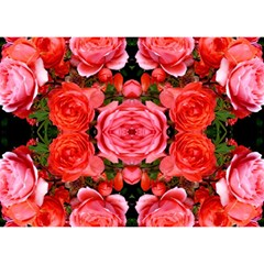 Beautiful Red Roses Birthday Cake 3d Greeting Card (7x5)  by Costasonlineshop