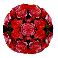 Beautiful Red Roses Large 18  Premium Round Cushions