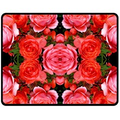 Beautiful Red Roses Double Sided Fleece Blanket (medium)  by Costasonlineshop
