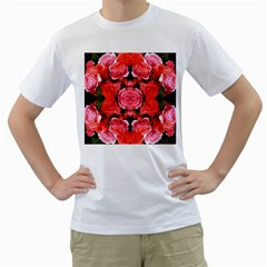 Beautiful Red Roses Men s T-Shirt (White)  by Costasonlineshop