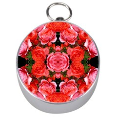 Beautiful Red Roses Silver Compasses by Costasonlineshop