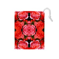 Beautiful Red Roses Drawstring Pouches (medium)  by Costasonlineshop