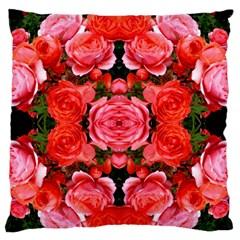 Beautiful Red Roses Large Flano Cushion Cases (one Side)  by Costasonlineshop