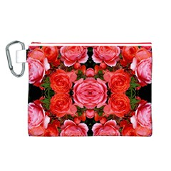 Beautiful Red Roses Canvas Cosmetic Bag (L) by Costasonlineshop