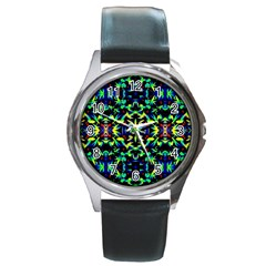 Cool Green Blue Yellow Design Round Metal Watches by Costasonlineshop