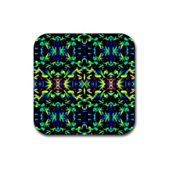 Cool Green Blue Yellow Design Rubber Coaster (square)  by Costasonlineshop