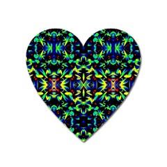 Cool Green Blue Yellow Design Heart Magnet by Costasonlineshop