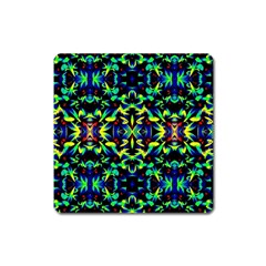Cool Green Blue Yellow Design Square Magnet by Costasonlineshop