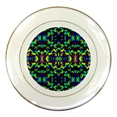 Cool Green Blue Yellow Design Porcelain Plates by Costasonlineshop