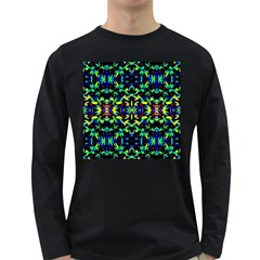 Cool Green Blue Yellow Design Long Sleeve Dark T Shirts by Costasonlineshop