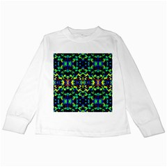 Cool Green Blue Yellow Design Kids Long Sleeve T-Shirts by Costasonlineshop