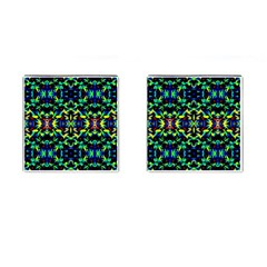 Cool Green Blue Yellow Design Cufflinks (Square) by Costasonlineshop